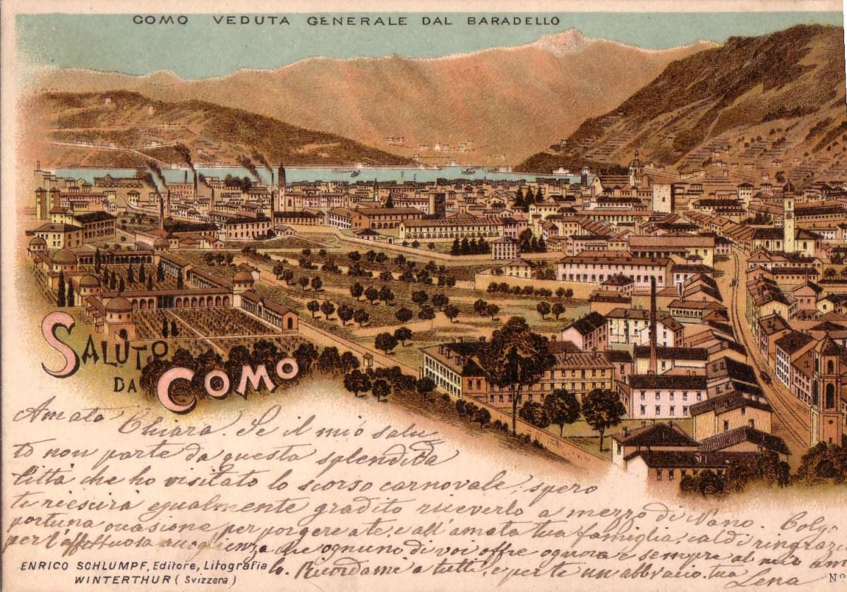 Cartolina d'epoca della città di Como. Si noti il tipico paesaggio da Seconda rivoluzione industriale.