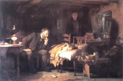 Il medico del XIX doveva molto spesso operare al capezzale del malato.