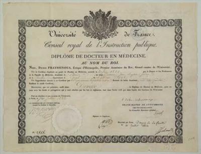 Attestato di laurea in medicina risalente al 1822, conseguito presso l'Università della Sorbona.