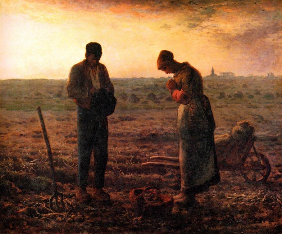 Millet, Angelus - 1857. L'immagine ritrae perfettamente la classe contadina di metà Ottocento.