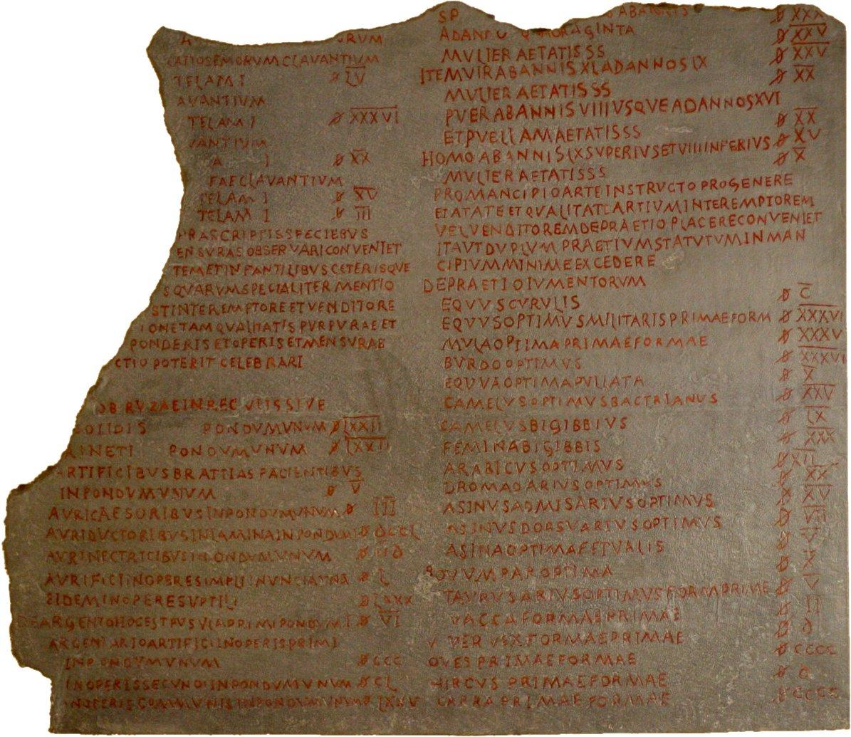 Lapide con incisa una parte dell'Editto sui prezzi di Diocleaziano. Lapide conservata al Pergamonmuseum d Berlino.