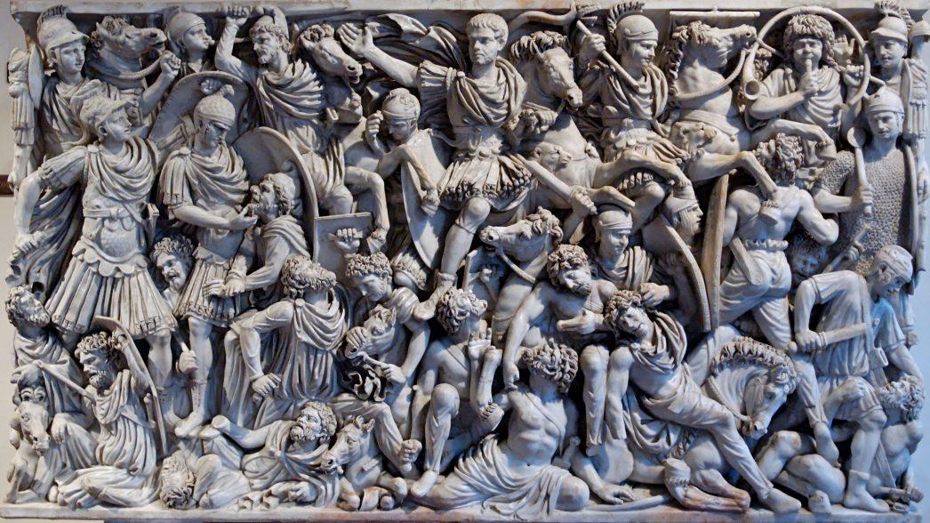 """Romani combattono contro Germani. """"Sarcofago del Grande Ludovisi"""", marmo del III secolo dC"""