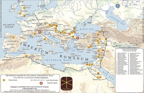 Dislocazione delle legioni romane nel 400 dC, come indicato dalla Notitia Dignitatum. Immagine reperibile a questa url