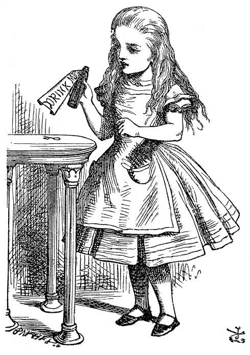 """Alice e la bottiglia con la scritta """"Drink me"""", dall'edizione originale"""