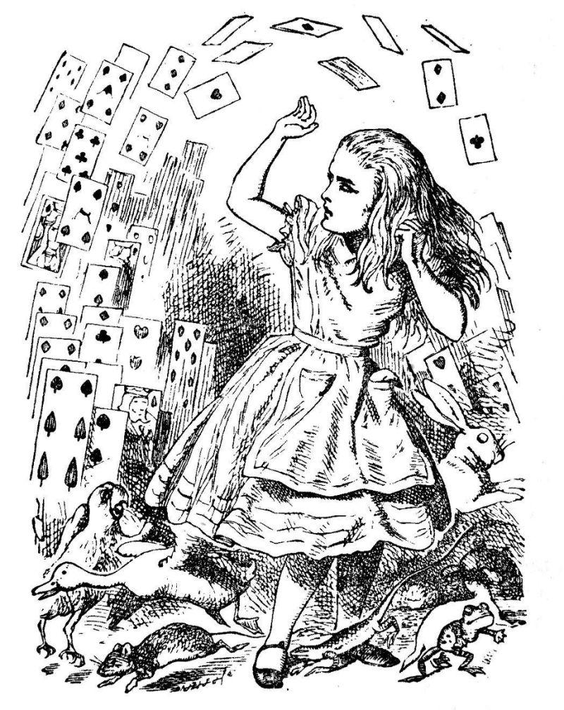 Alice getta le carte, illustrazione originale