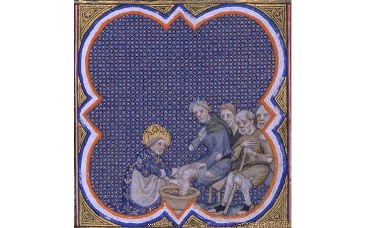 Luigi IX lava i piedi a un povero