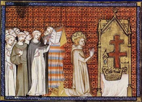Luigi IX in fervente preghiera