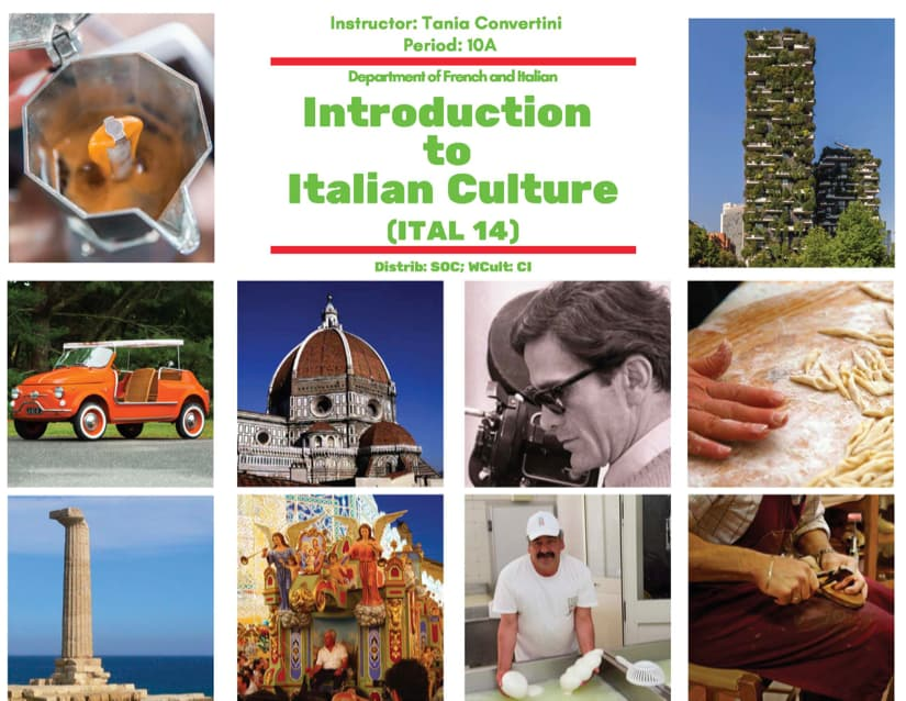 Italian 14 – Introduction to Italian Culture Course Flyer 2019-20