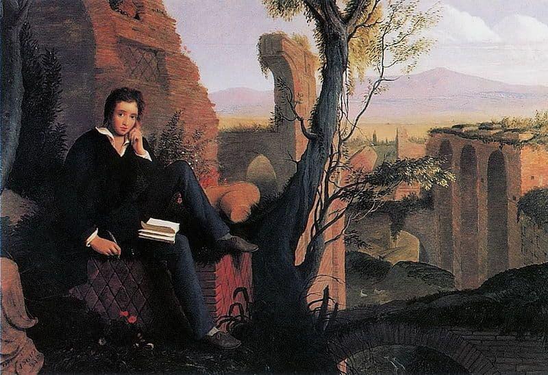 Shelley scrive il Prometeo Liberato presso le terme di Caracalla di Joseph Severn, 1845. Immagine reperibile a questo link.