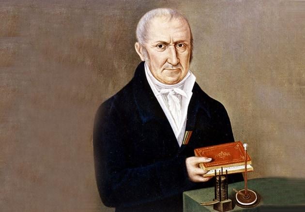 Pochi anni prima, nel 1799, Alessandro Volta aveva inventato la pila. Immagine reperibile a