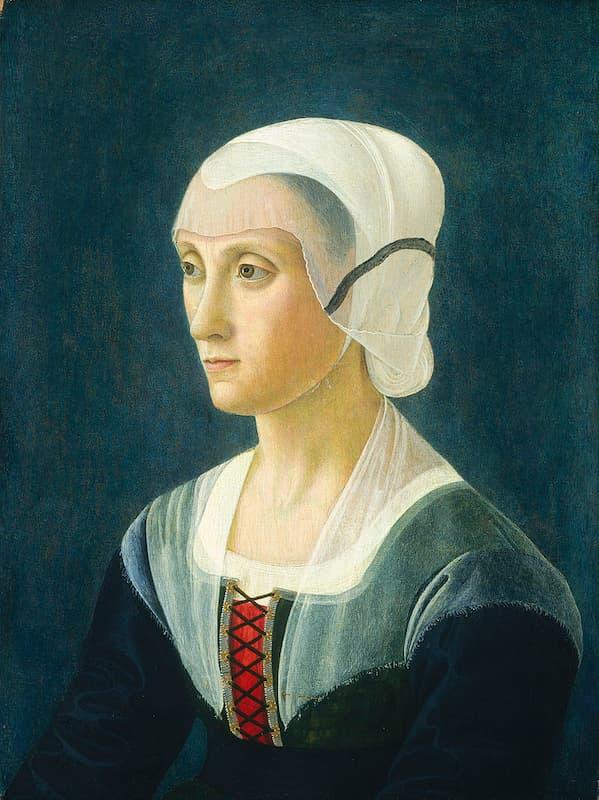 La poetessa Lucrezia Tornabuoni (1427-1482) ritratta dal Ghirlandaio.
