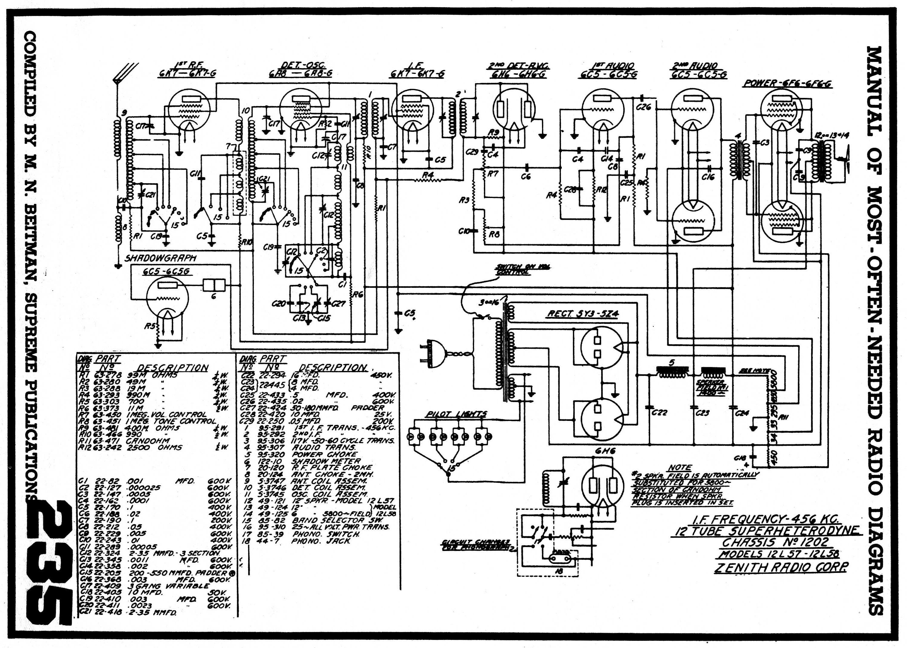 Diagrams And Service Data For Zenith 12 A 57