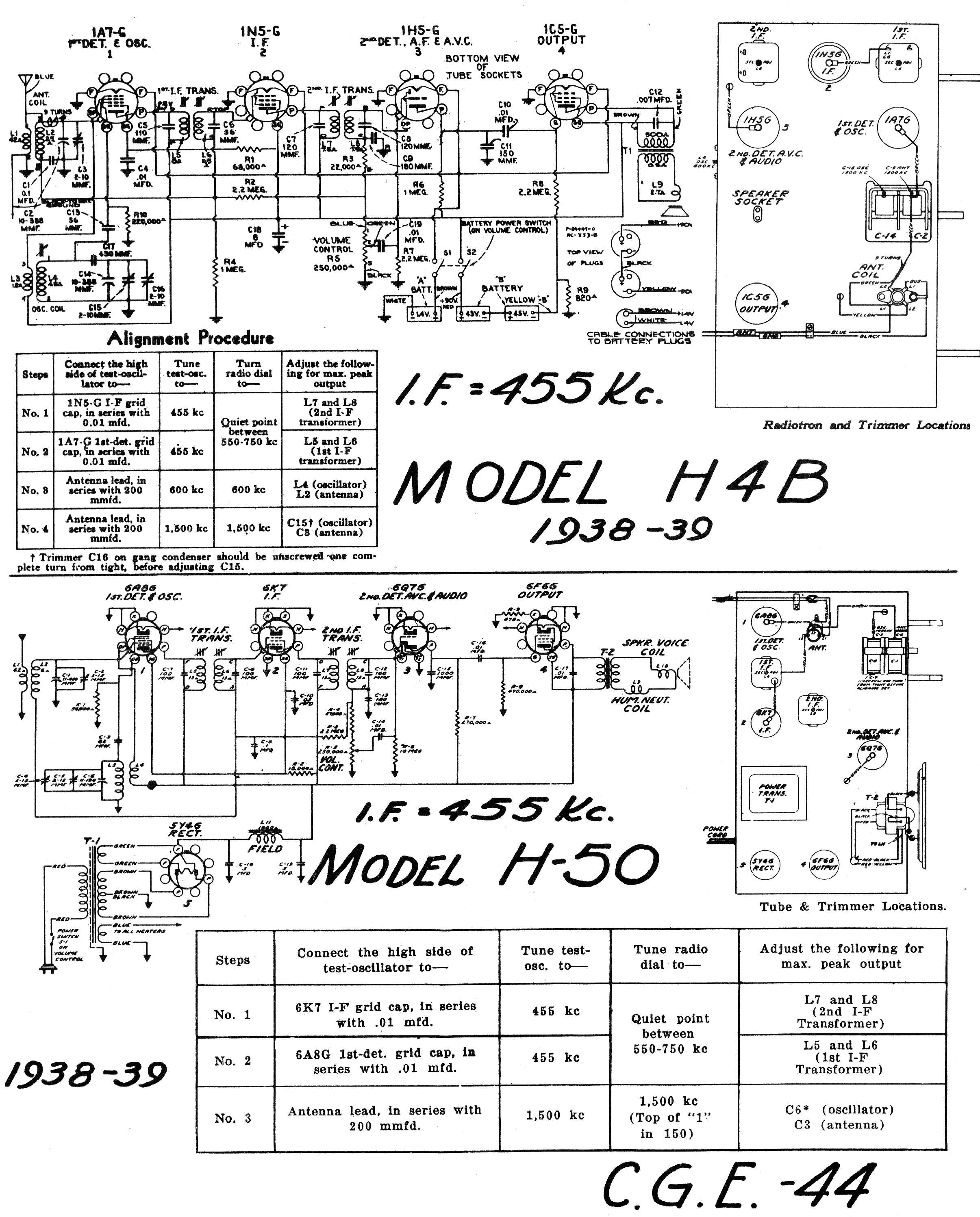 Diagrams And Service Data For General Electric H 50