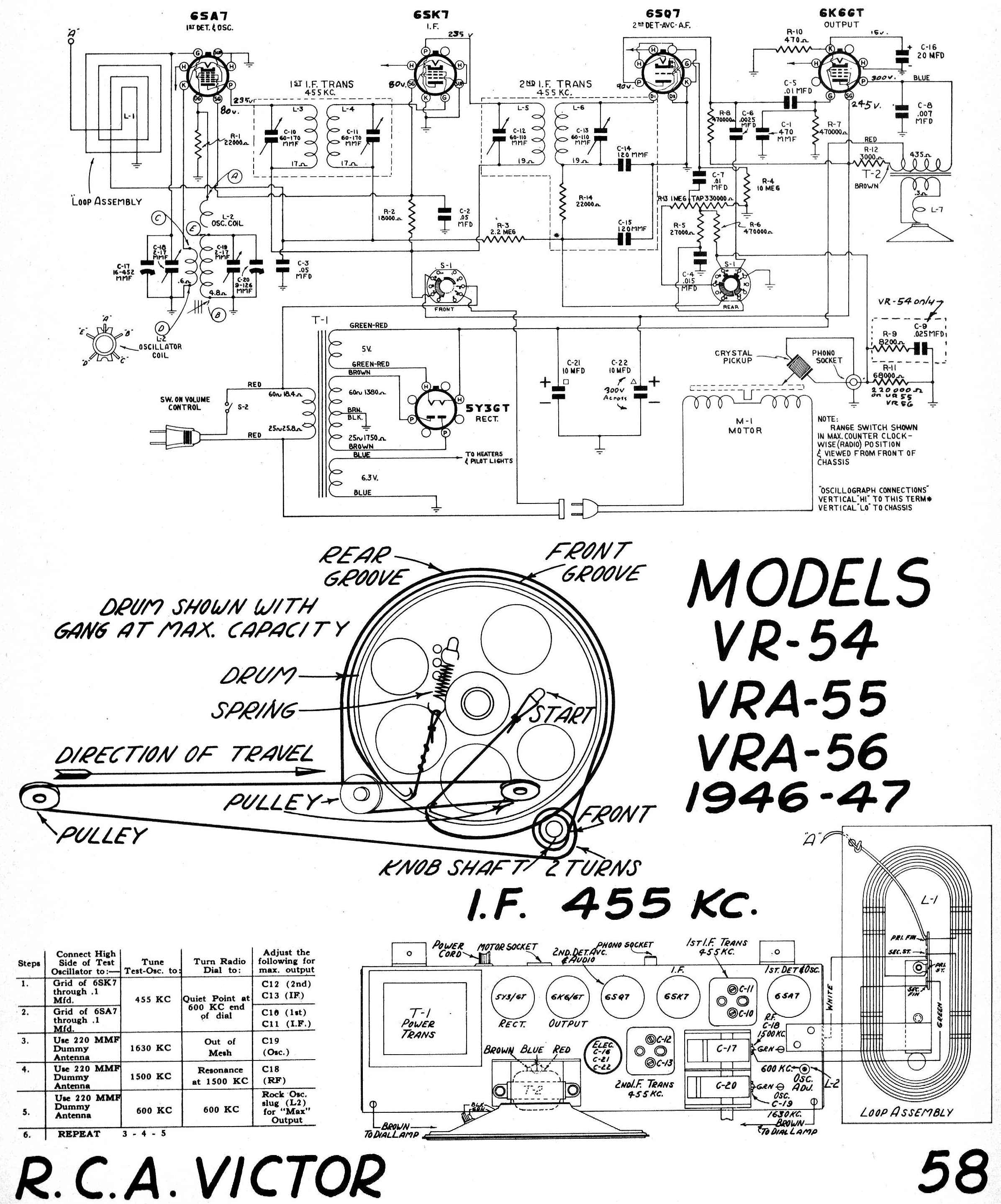 Diagrams And Service Data For Rca Victor Vra55