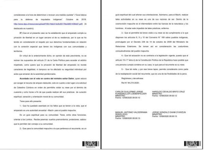 Parte del fallo de la 2da Sala de la Corte Suprema que resolvió rechazar el recurso de amparo interpuesto por la defensa del machi Celestino Córdova. Fuente: Radio UChile.