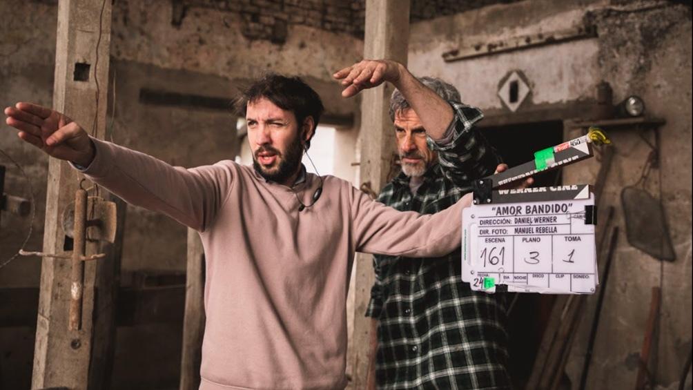 Un momento de la filmación de la película.Foto: prensa Amor bandido.