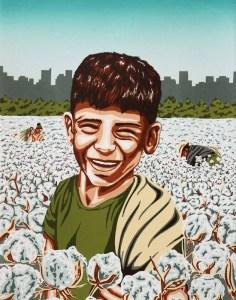 Undocumented Slavery, screenprint by J. Leigh Garcia, 2016.