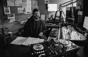 DJ Joe Black of Sonic Mushroom Cloud in the booth