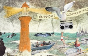 Arlie Sommer illustration of lighthouses and seagull with radio