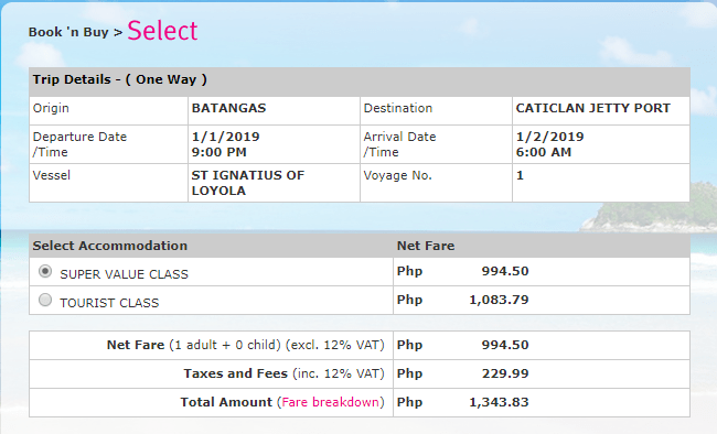 2GOTravel Batangas To Boracay (Caticlan) 2019 Fare