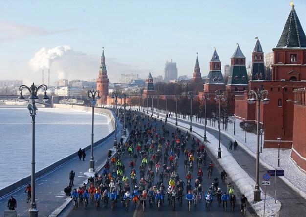 Parada bicicliştilor, la -28 de grade Celsius