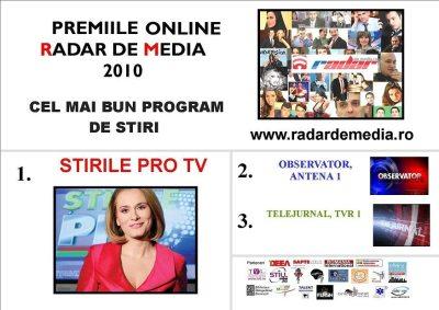 CELE MAI BUNE STIRI DE TELEVIZIUNE - premiile radar de media 2010 editia nr 2
