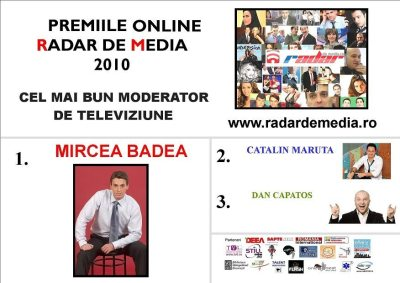 CEL MAI BUN MODERATOR DE TELEVIZIUNE- premiile radar de media 2010 editia nr 2