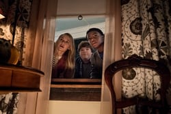 Madison Iseman (Sarah) Jeremy Ray Taylor (Sonny) Caleel Harris (Sam): EXT Tommy's House: The kids try to get into Tommy's house to find the book. Tommy's nana is asleep on the couch""