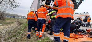 Cabină de TIR căzută pe un șofer ucrainean