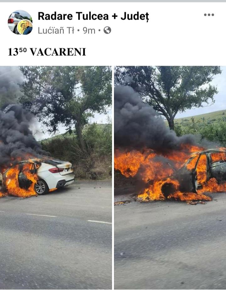 Un autoturism a luat foc în mers lângă Văcăreni