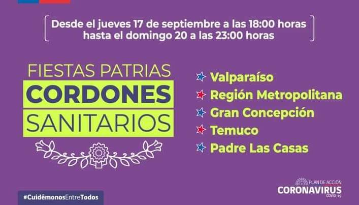 NUEVO CORDON SANITARIOS PARA FIESTAS PATRIAS