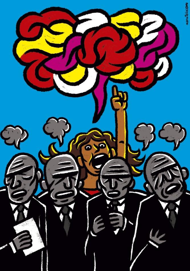 Una ilustración que refleja de manera simbólica la situación de las mujeres en el mundo político.
