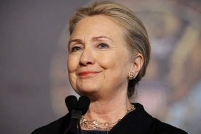 U.S. Secretary of State Clinton delivers a speech at Georgetown University in Washington