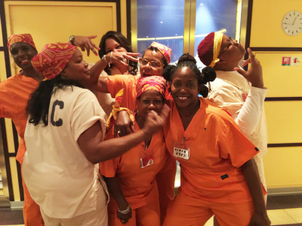Guests dress up from show Orange is the New Black