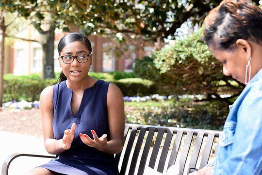 Taylor Jones, a Howard University junior, discusses the 2020 election with Deborah Barfield Berry.