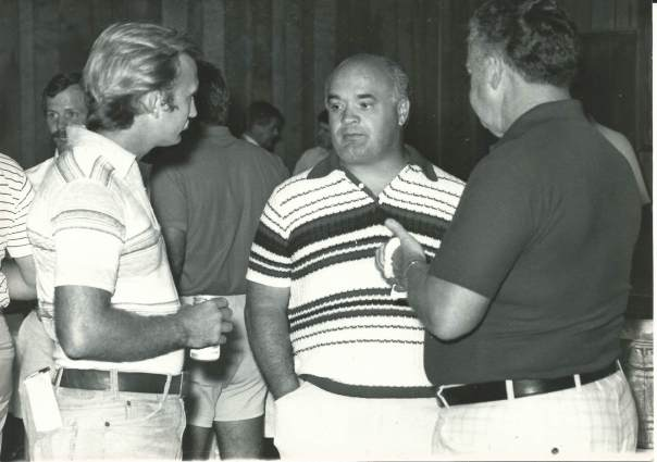 BLAST FROM THE PAST - Then Concord Tribune sports editor Dale Cline, left, talks with coaches Arden Ray, center, and George