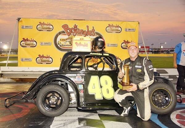 Austin Hill claimed his first Bojangles' Summer Shootout Series win in the Human Body Tuning Group Legend Car Pro Division during Round 8 on Tuesday at Charlotte Motor Speedway.  CMS Photo/John Davison