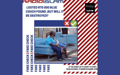 Fake Fact Check – Looted R70 000 Blue Couch Found, But Will It Be Destroyed?