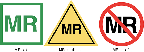 Diagram shows device-labeling icons like MR safe, MR conditional, and MR unsafe.