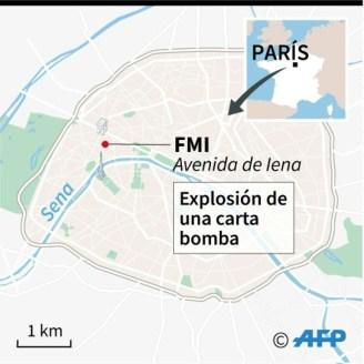 Localización de la sede parisina del FMI, donde el jueves explotó una carta bomba dejando una mujer herida