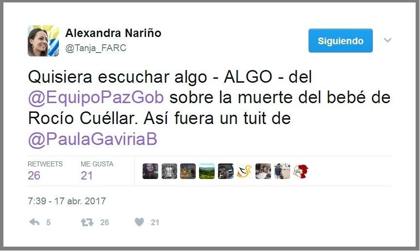Muere bebe de las FARC