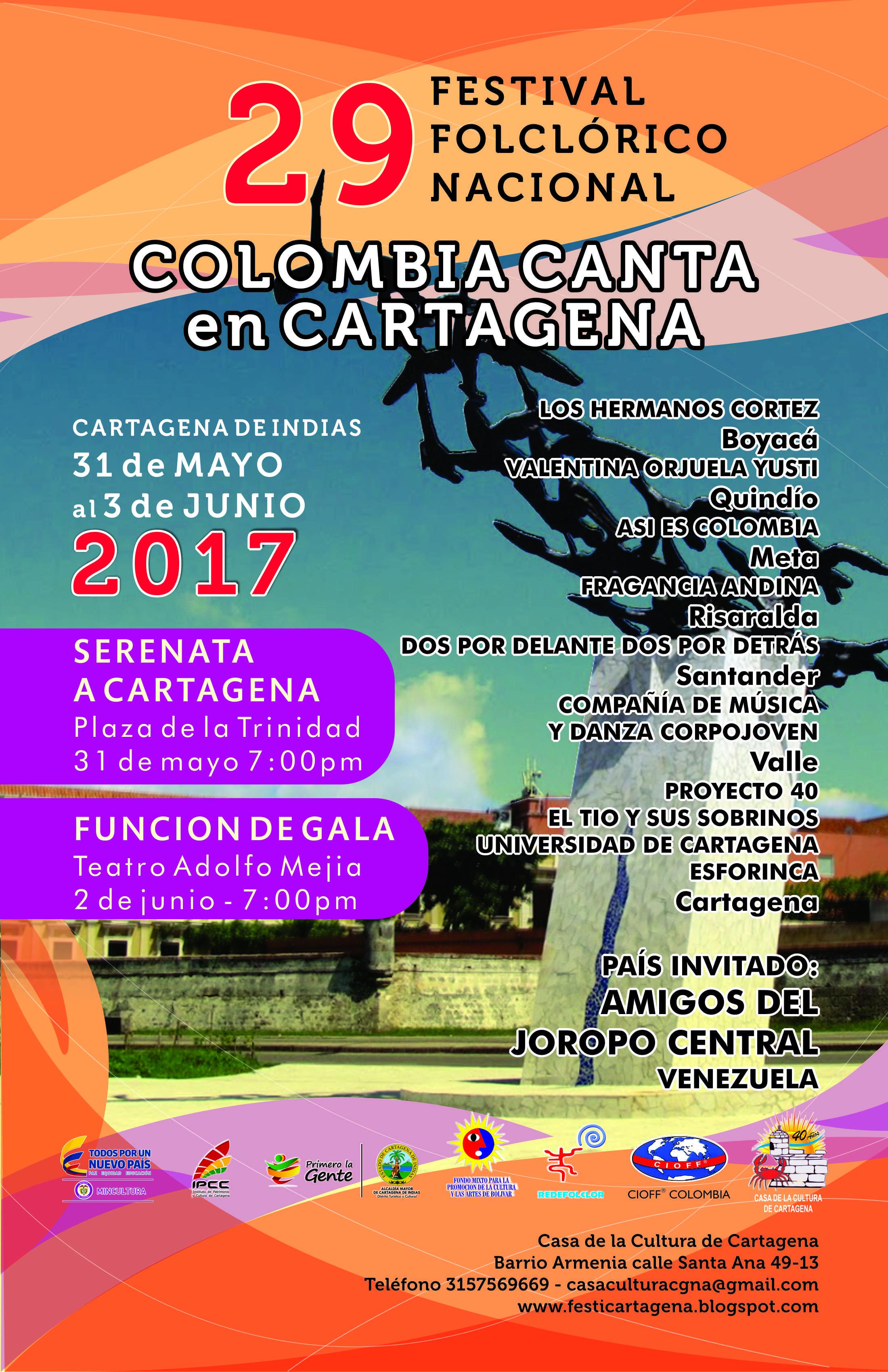 29 FESTIVAL FOLCLÓRICO NACIONAL «COLOMBIA CANTA EN CARTAGENA - Afiche-colombia-canta-en-cartagena