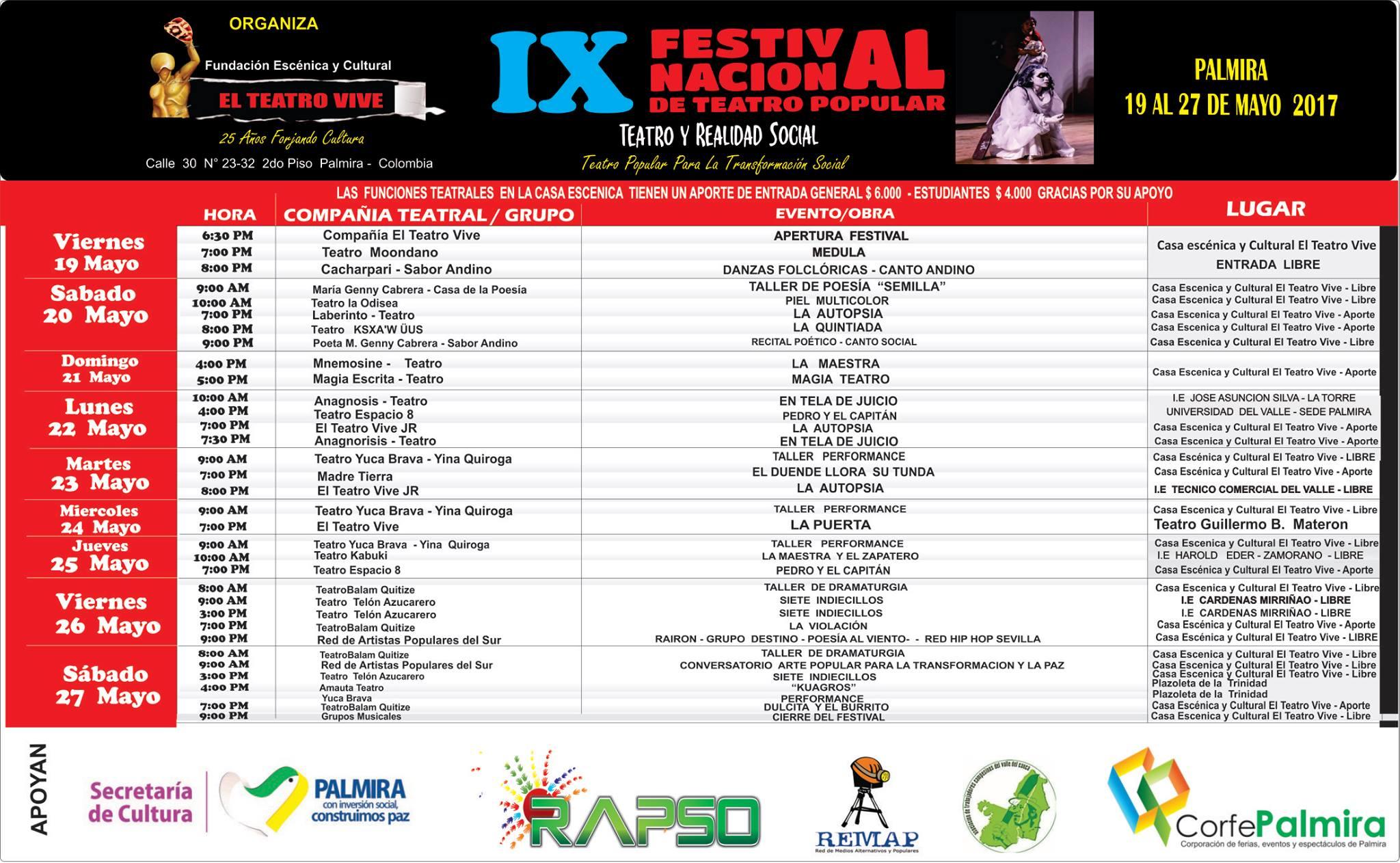 Programacion IX Festival Nacional de Teatro Popular