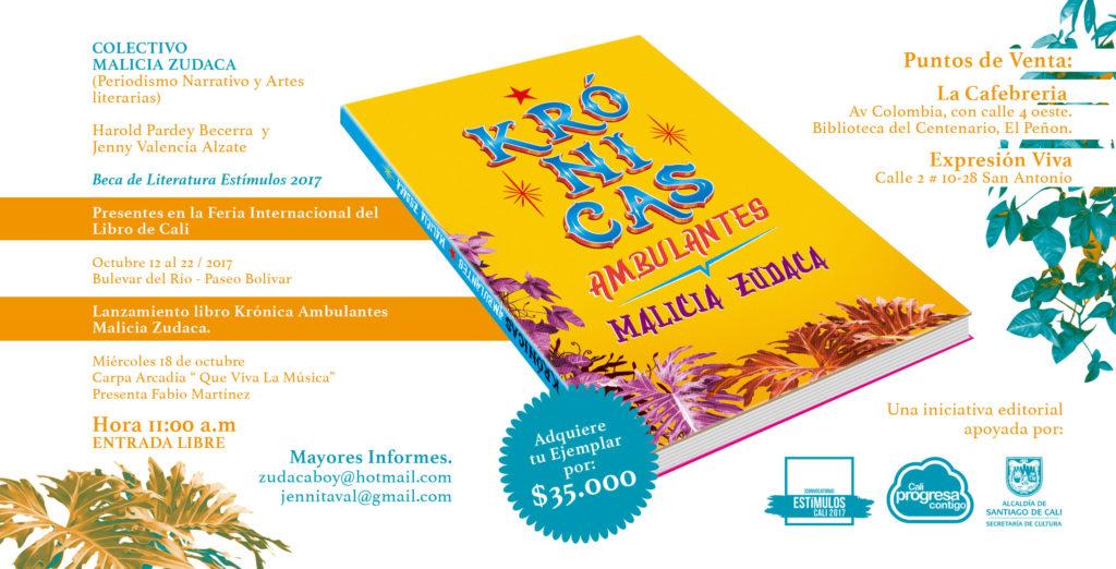 Krónicas Ambulantes Malicia Zudaca ¡Proyectiles narrativos en la Feria del Libro de Cali! - Lanzamiento-Krónicas-Ambulantes-en-la-feria-del-libro-1024x522