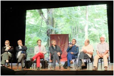 Les directeurs successifs du Théâtre du Peuple : de g. à d. : T. Egervari, J.-C. Berruti, Ph. Berling, V. Goethals, F. Rancillac, P.-E. Heymann et P. Diependaële