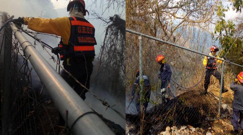 Grupos de Rescate, Voluntarios y Bomberos D.C. atendieron incendio forestal en Petare.