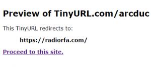 Exemple de prévisualisation sur TinyURL.com