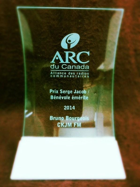 Prix Serge Jacob / Bénévole de l'année à Bruno Bourgeois de CKJM FM (Chéticamp, N.-É.)