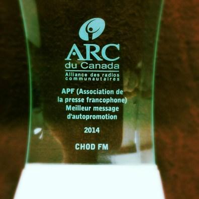 Prix APF du Meilleur message d'autopromotion à la station CHOD FM (Cornwall, On.)