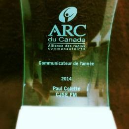 Prix du communicateur de l'année à Paul Colette de CJSE FM (Shédiac, N.-B.)
